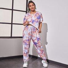 Pijamas de Talla Grande Nudo Tie-Dye Multicolor Deportivo