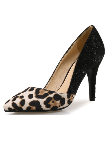Milanoo Black High Heels Pointed Toe Leopard Printed Stiletto Heel Slip On Pumps