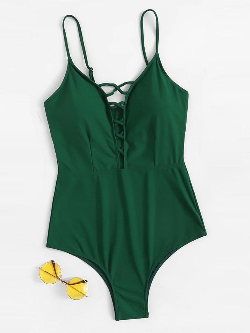 Ericdress Hollow Plain Plus Size Sexy Swimwear