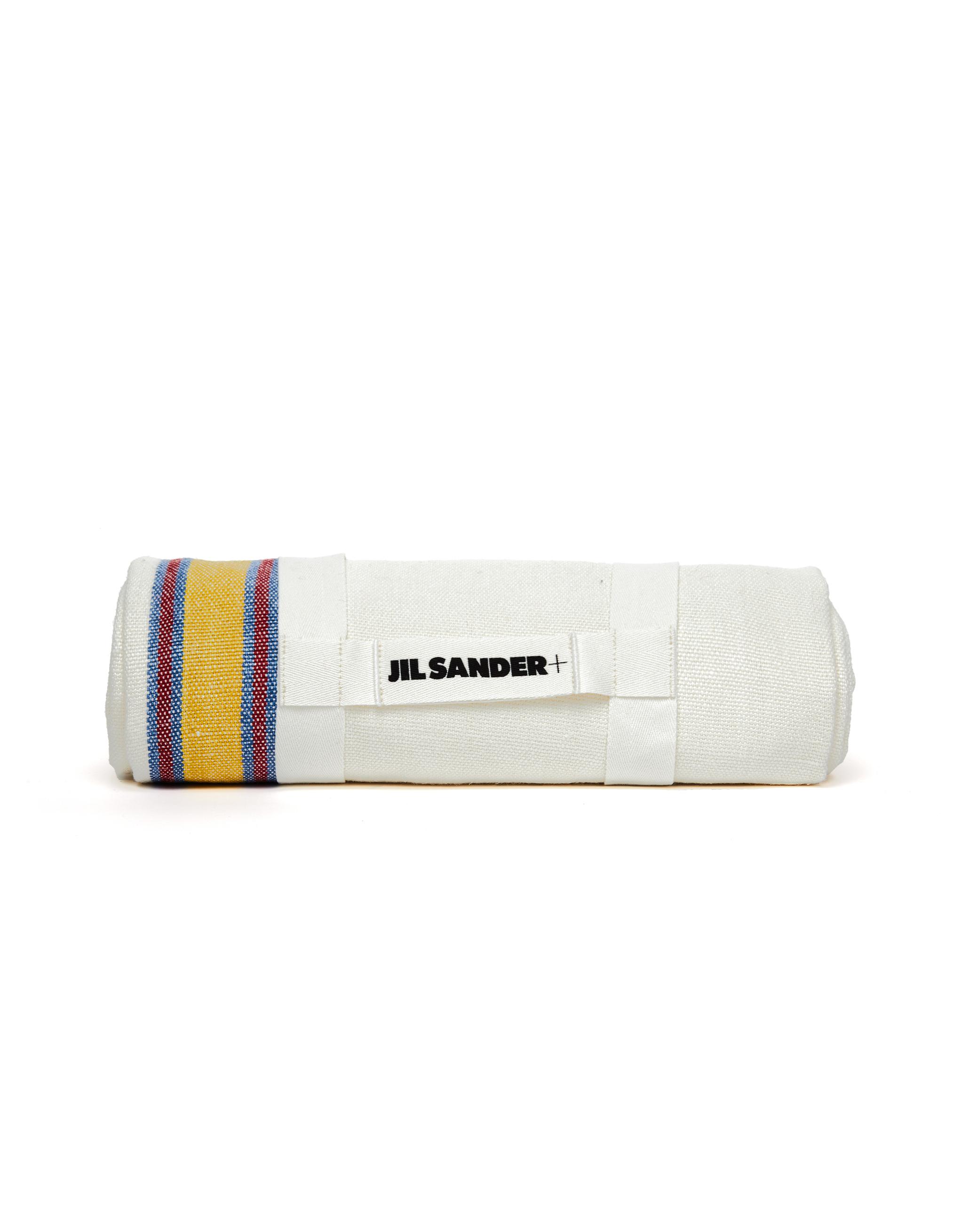 Jil Sander Striped Beige Linen Blanket