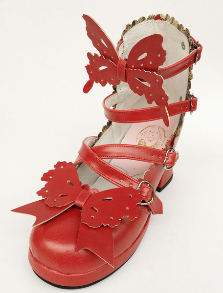 Milanoo Red Lolita Shoes Strappy Bow Sweet Lolita Chunky Heels
