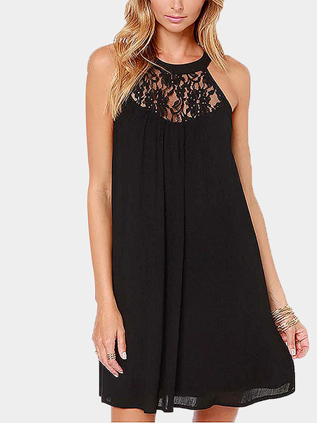 Yoins Black Sleeveless Lace Insert Mini Dress