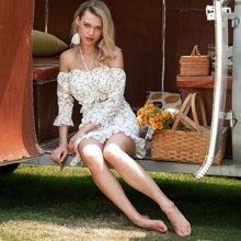 D&M Ruched Bust Ruffle Trim Ditsy Floral Peekaboo Dress