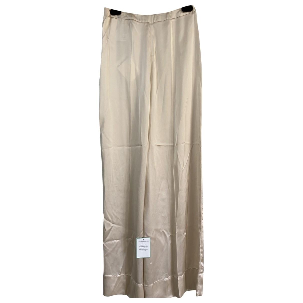 Jil Sander \N Beige Silk Trousers for Women 36 IT