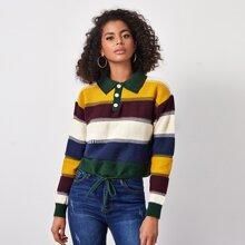 Drawstring Hem Color Block Sweater