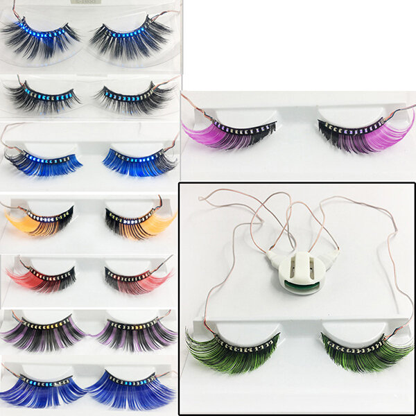 1 Pair Led False Eyelashes Light Waterproof Long Curly Eyelash Halloween Christmas Makeup