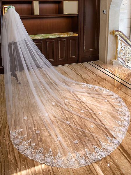 Milanoo Velos de novia de largo marfil Flores apliques de encaje 2 niveles de Catedral Velos de novia