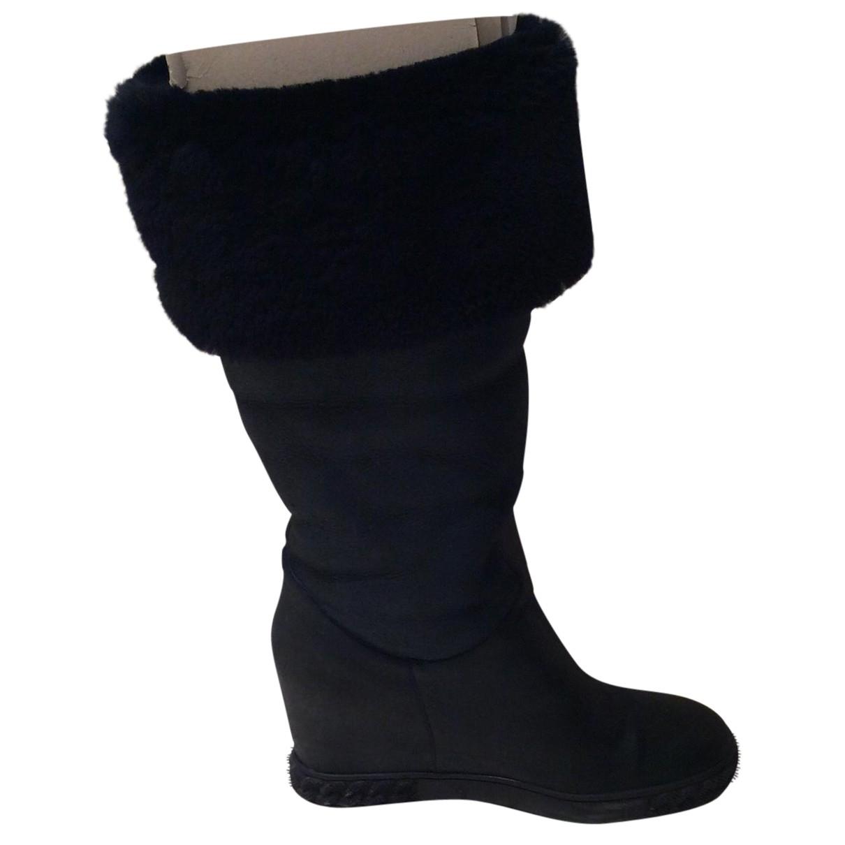 Casadei N Navy Shearling Boots for Women 39 EU