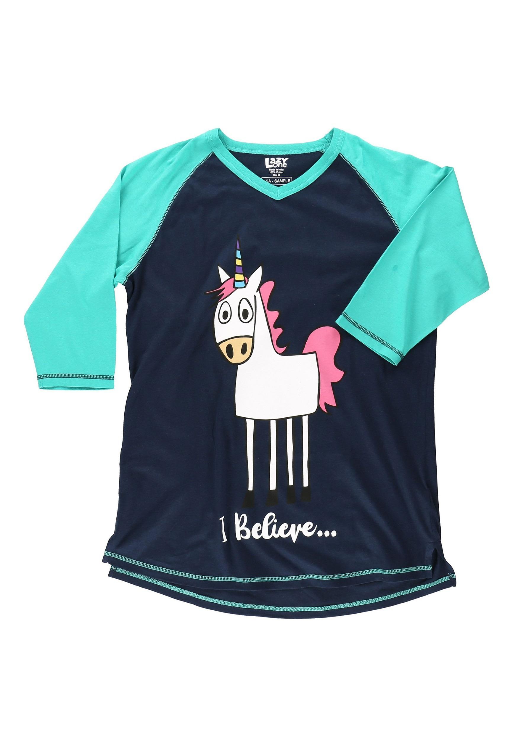 I Believe Unicorn Tall Women's Pajama Tee
