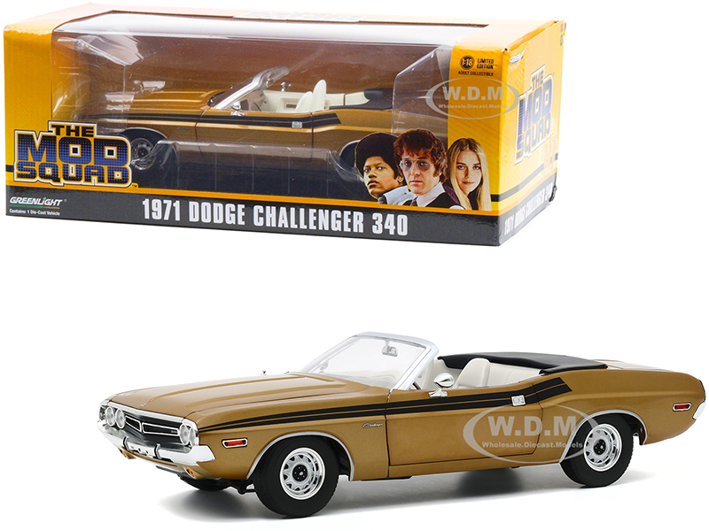 1971 Dodge Challenger 340 Convertible Gold with White Interior and Black Stripes