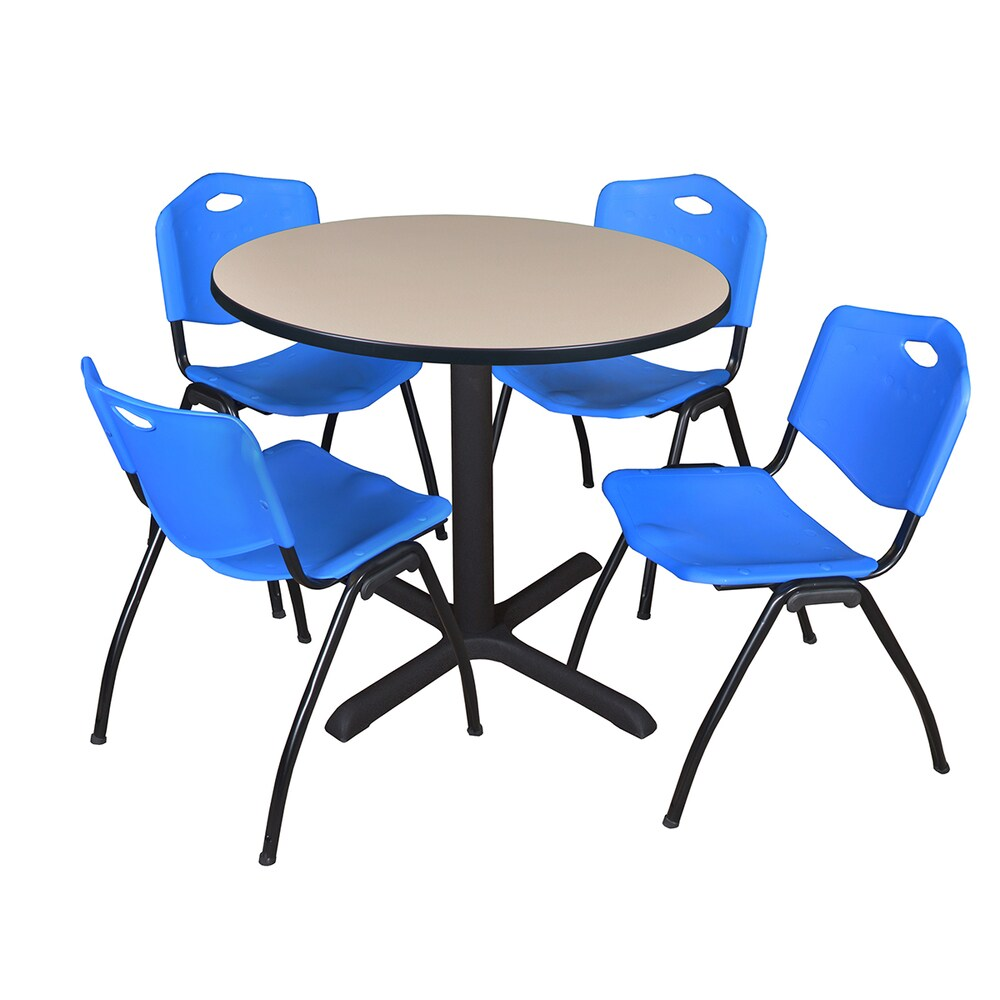 Round 42-inch Table and 4 'M' Stackable Blue Chairs (Cherry)
