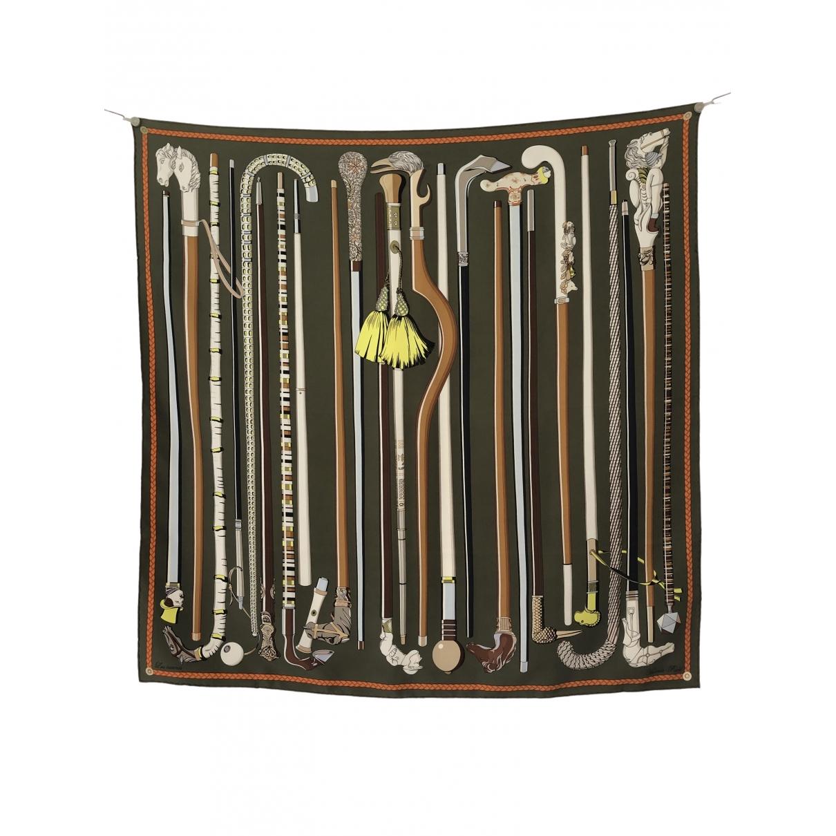 Hermès \N Khaki Silk scarf for Women \N