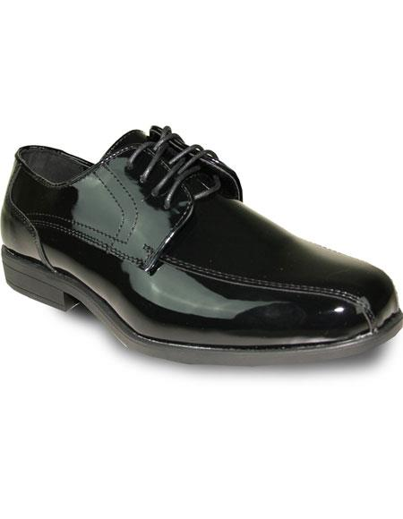Men's Oxford Tuxedo Black Patent Formal for Prom Lace Up Dress Shoe