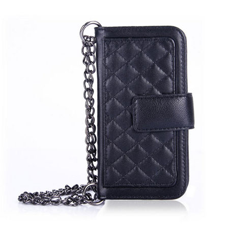 Genuine Leather Phone Case and Wallet Combination with Chain for iPhone 6 Plus, One Size , Black