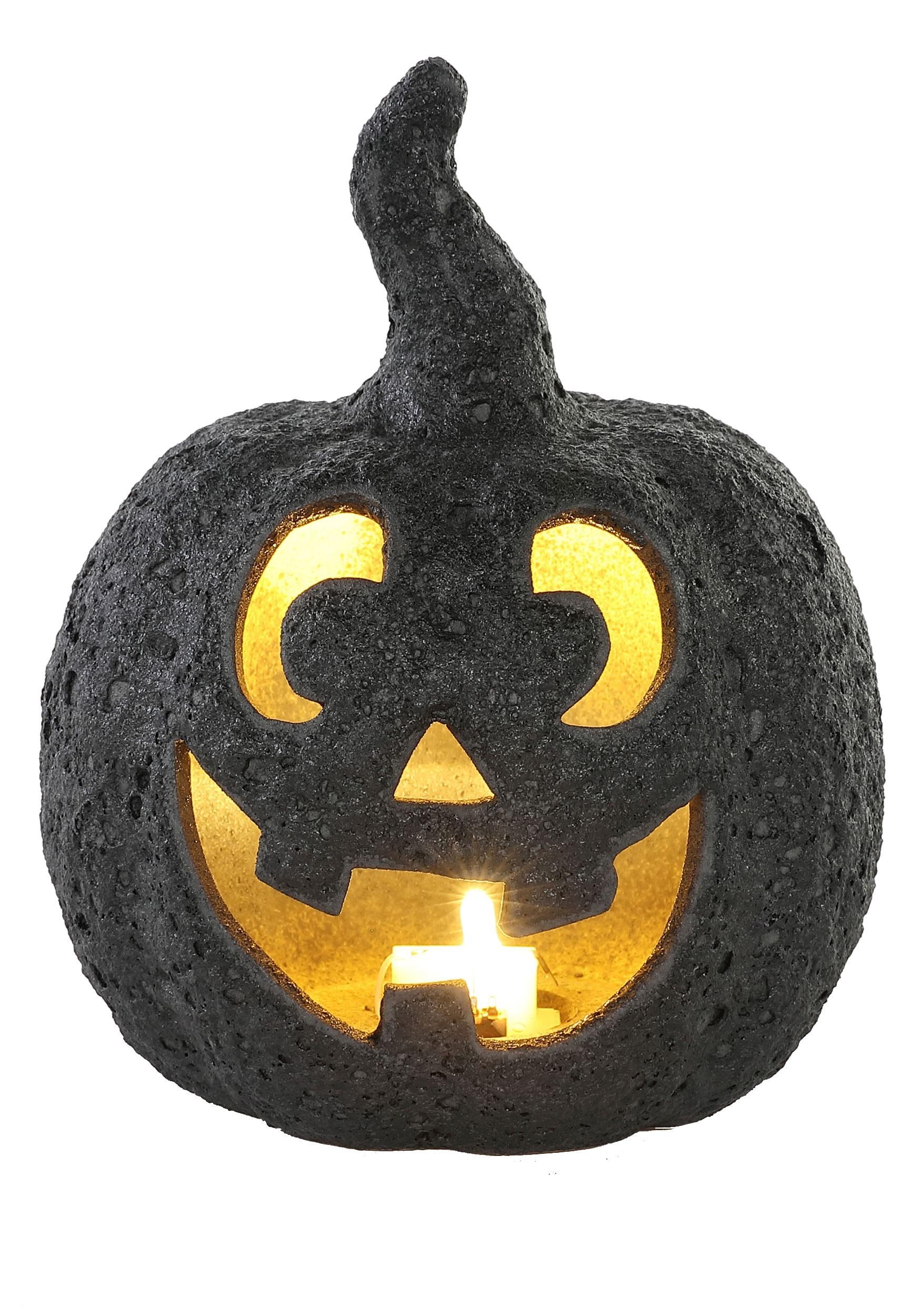 Small Black Stone-Look Glow Ceramic Pumpkin