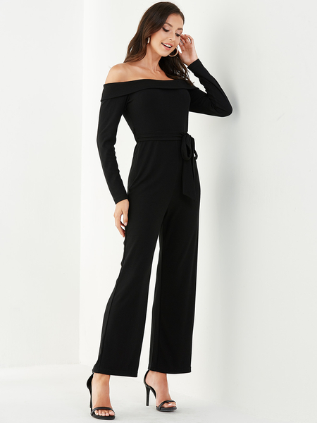 YOINS Black Belt Design Off The Shoulder Overlay Jumpsuit