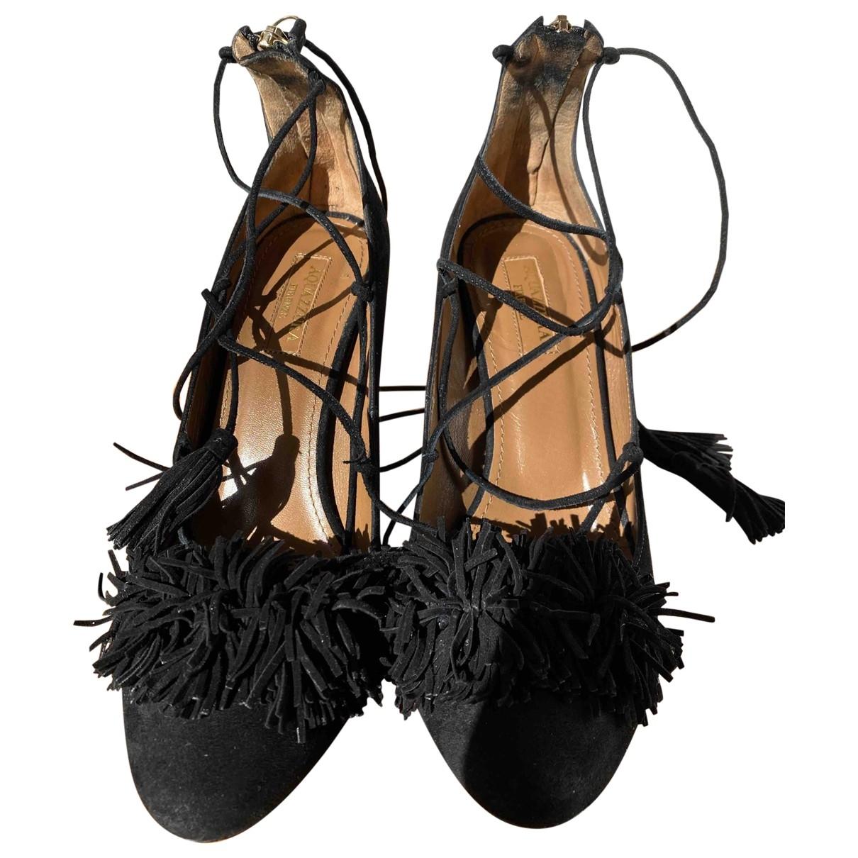 Aquazzura \N Black Suede Heels for Women 37 EU
