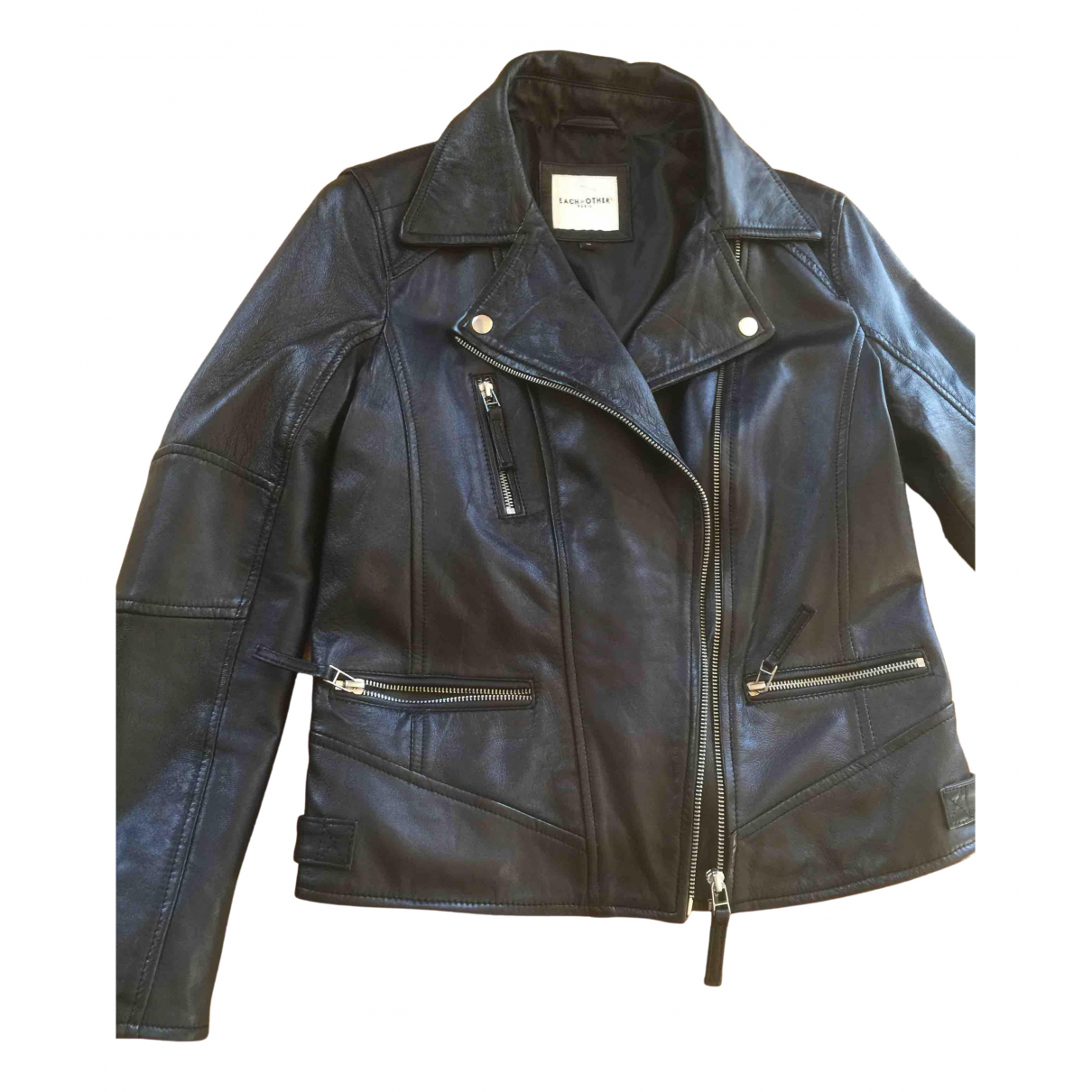 Each X N Black Leather Leather jacket for Women 42 IT