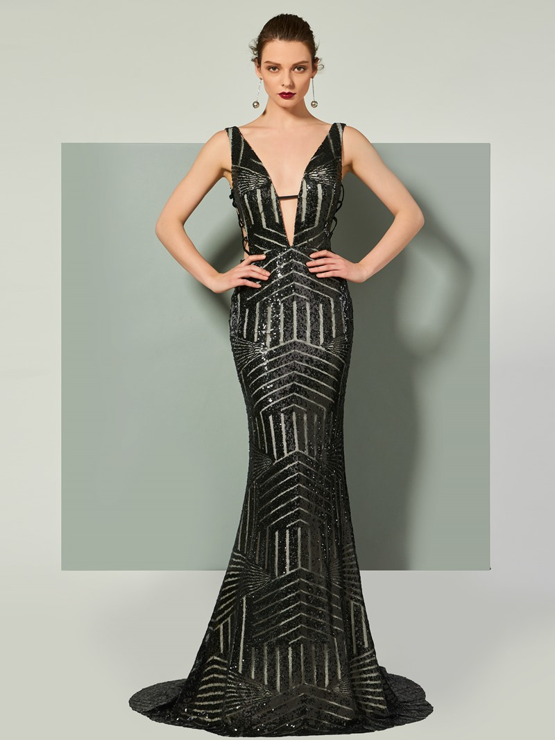 Ericdress V Neck Sequin Backless Mermaid Evening Dress With Court Train