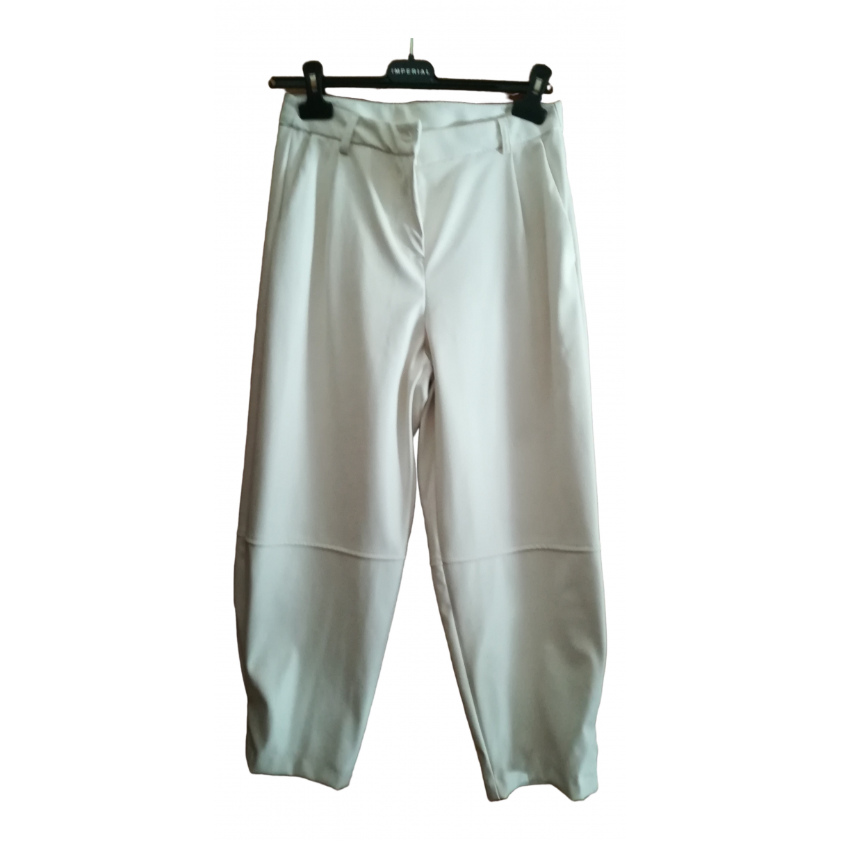Impérial \N White Leather Trousers for Women S International