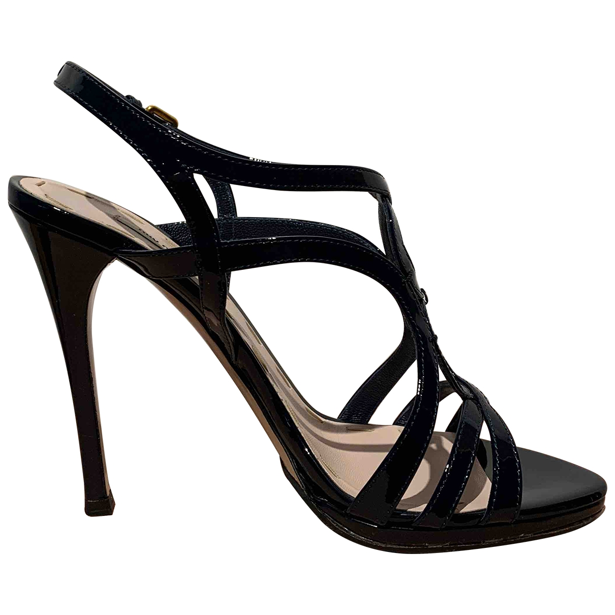 Miu Miu \N Navy Patent leather Sandals for Women 37 EU