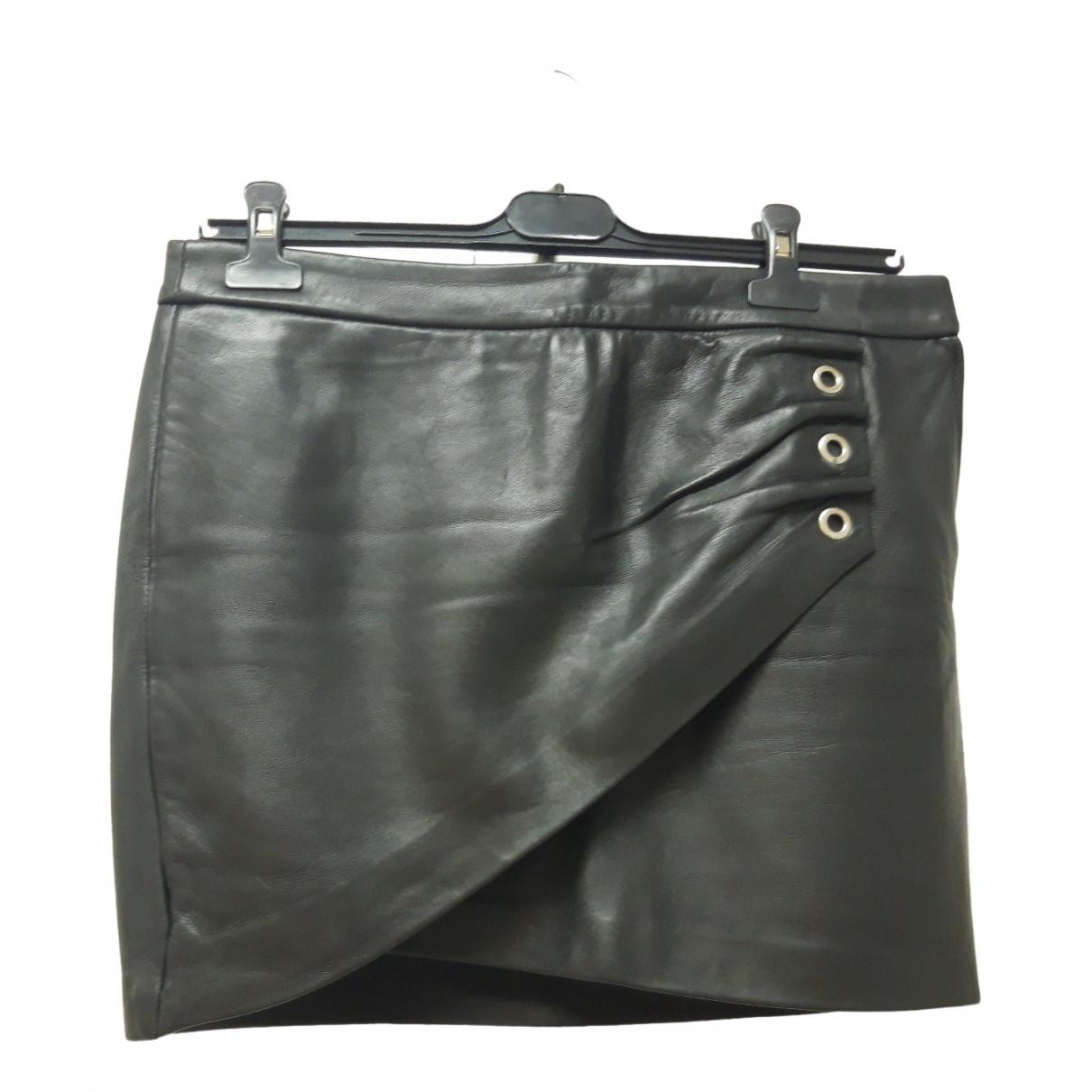 Maje \N Black Leather skirt for Women 40 FR