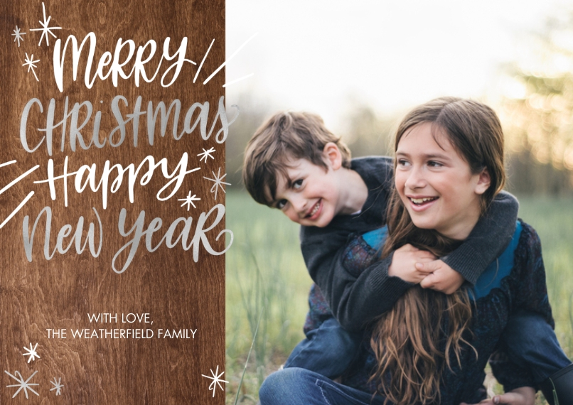 Christmas Photo Cards 5x7 Cards, Premium Cardstock 120lb, Card & Stationery -Christmas New Year Rustic by Tumbalina