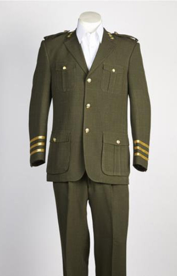 Mens 2 Button Olive Single Breasted Suit