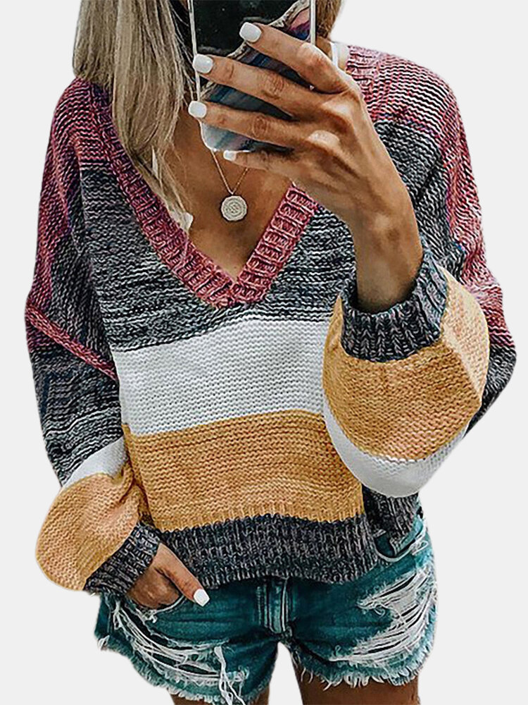 V-nwck Contrast Color Long Sleeve Casual Sweater For Women