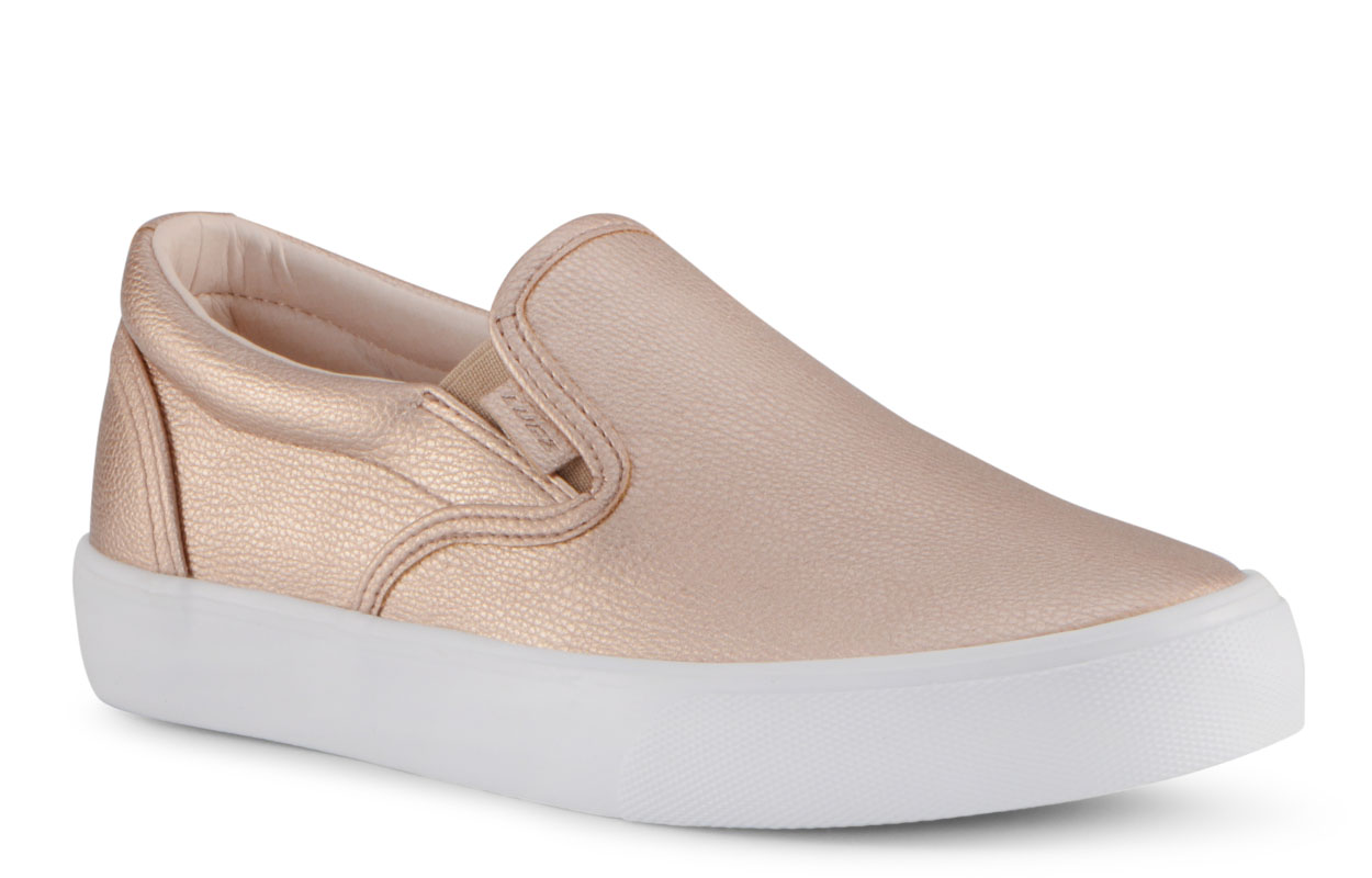 Women's Clipper Lx Slip-On Sneaker (Choose Your Color: ROSE GOLD/WHITE, Choose Your Size: 9.5)