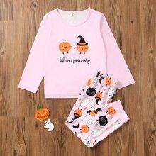 Toddler Girls Halloween Print PJ Set