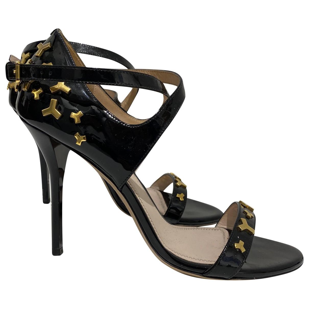Bally - Sandales   pour femme en cuir verni - noir