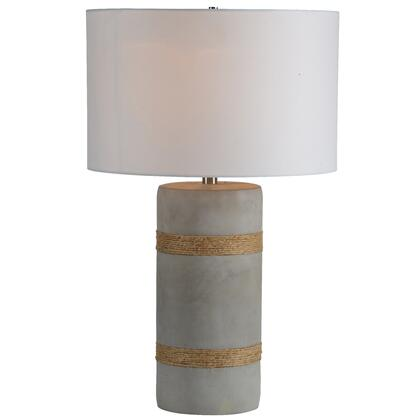 Malden Collection LPT760 Table Lamp with 1 Bulb  Rope Detail Finish Concrete Base and White Tetron Cotton