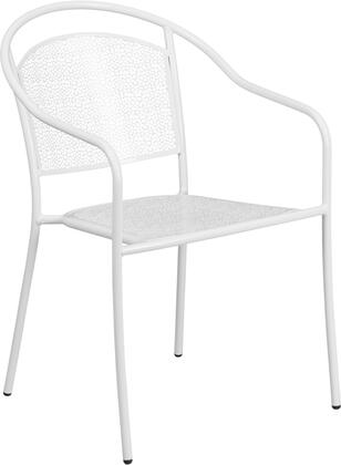 CO3 Collection CO-3-WH-GG Stackable Indoor-Outdoor Patio Arm Chair with Round Back  Integrated Arms  Rain Flower Design  Floor Protector Glides