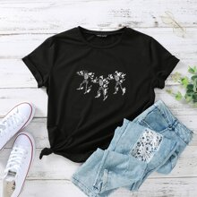 Skeleton & Fire Print Tee