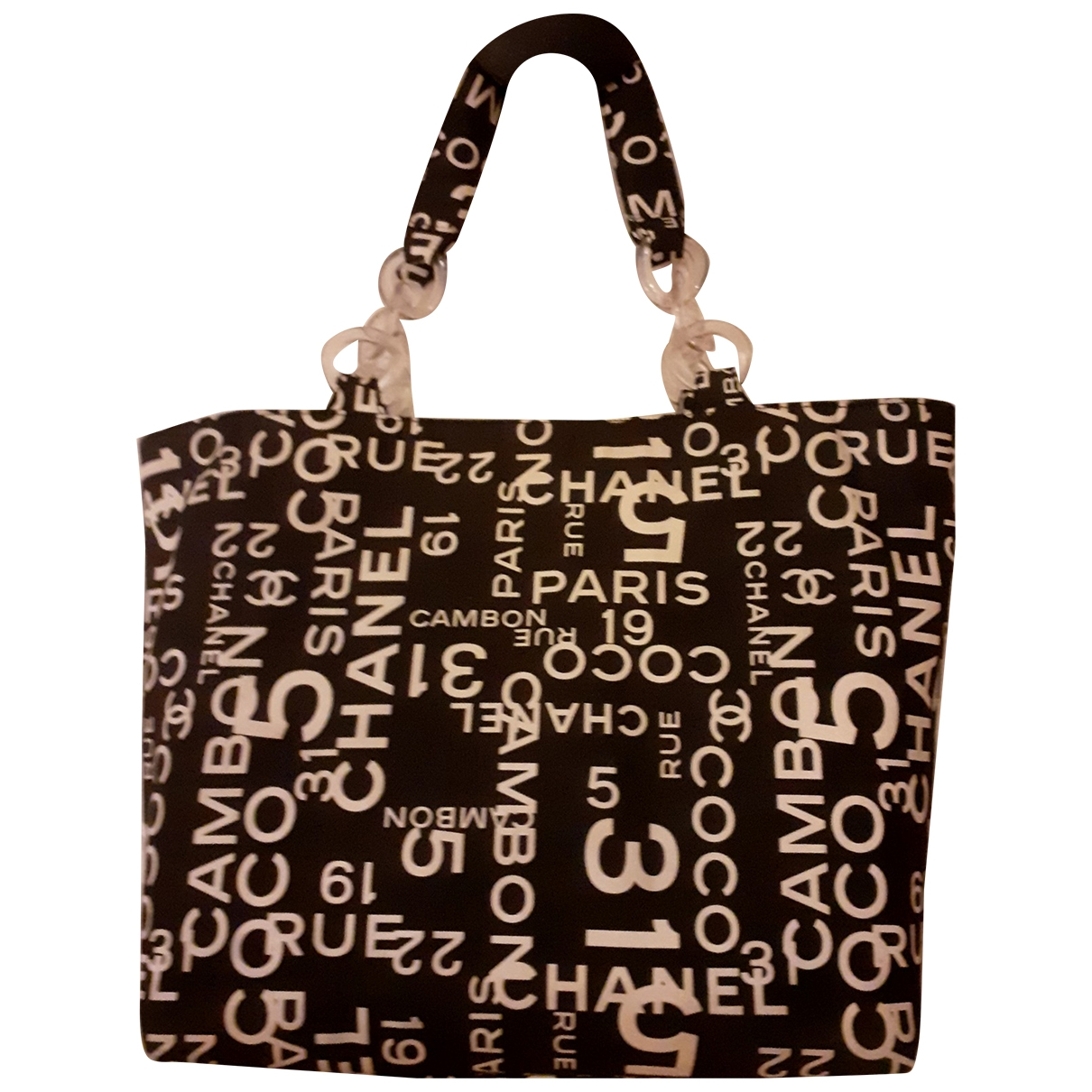 Chanel - Sac a main   pour femme en coton - noir