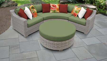 Coast Collection COAST-04a-CILANTRO 4-Piece Wicker Patio Set with 2 Corner Chairs  Round Coffee Table and Curved Armless Chair - Beige and Cilantro