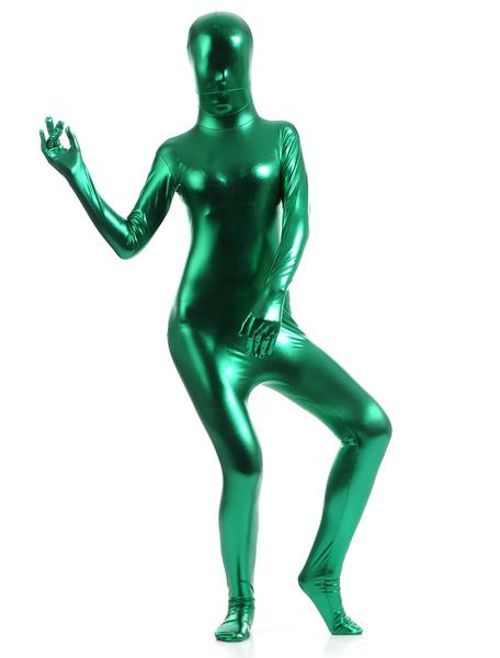 Milanoo Green Zentai Suit Adults Unisex Full Body Shiny Metallic Bodysuit
