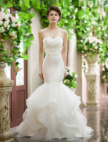 Milanoo Ivory Wedding Dress Mermaid Strapless Tiered Lace Up Ruched Wedding Gown