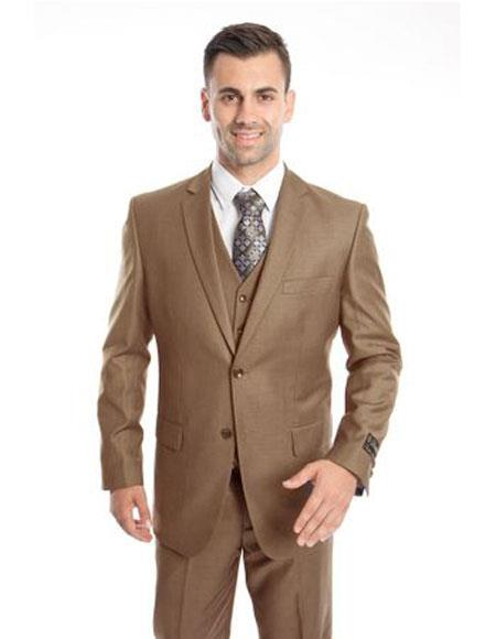 Mens Two Button Regular Fit Dark Taupe Single Breasted Suit