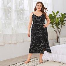 Plus Allover Print Slip Dress