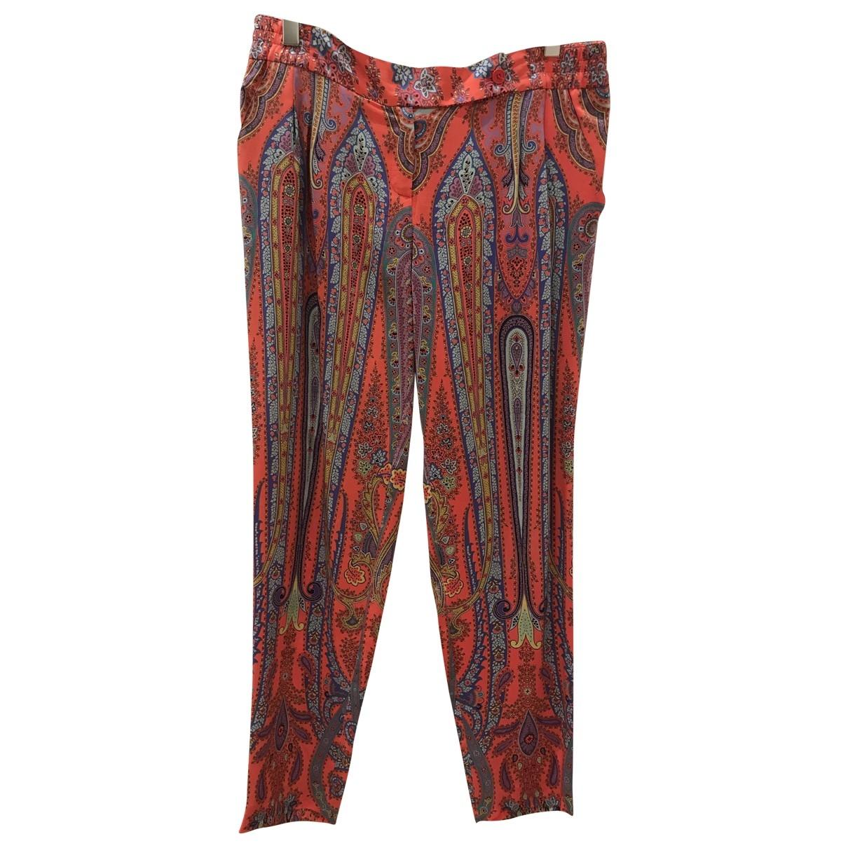 Etro \N Orange Silk Trousers for Women 44 IT