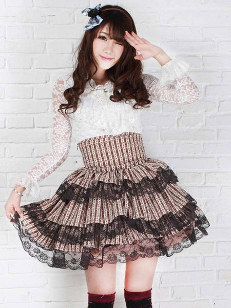 Milanoo Classic Lolita SK Lace Trim Ruffle Brown Lolita Skirt