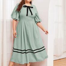 Kleid mit Peter Pan Kragen, Knoten Detail, Knopfen vorn und Streifen