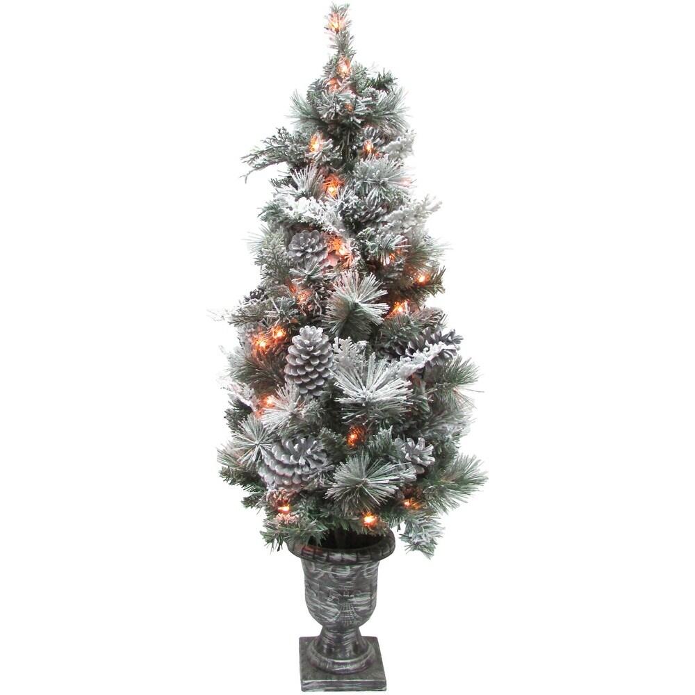 Fraser Hill Farm 4-Ft. Prelit Christmas Snow Flocked Porch Tree (White - 4 Foot)