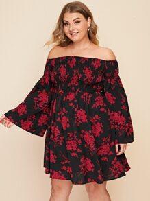 Plus Off Shoulder Bell Sleeve Shirred Bodice Floral Dress