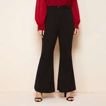 Plus Buckle Belted Flare Leg Pants
