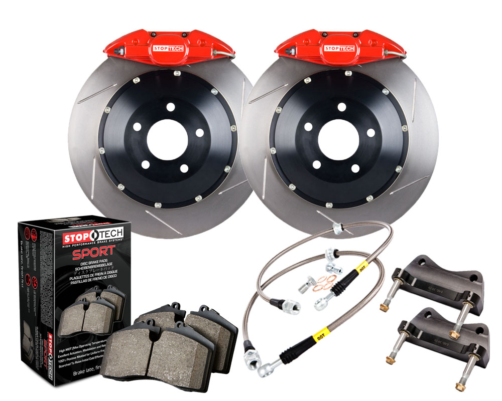 StopTech 83.843.002G.71 Big Brake Kit; Black Caliper; Drilled Two-Piece Rotor; Front Subaru WRX Rear 2015