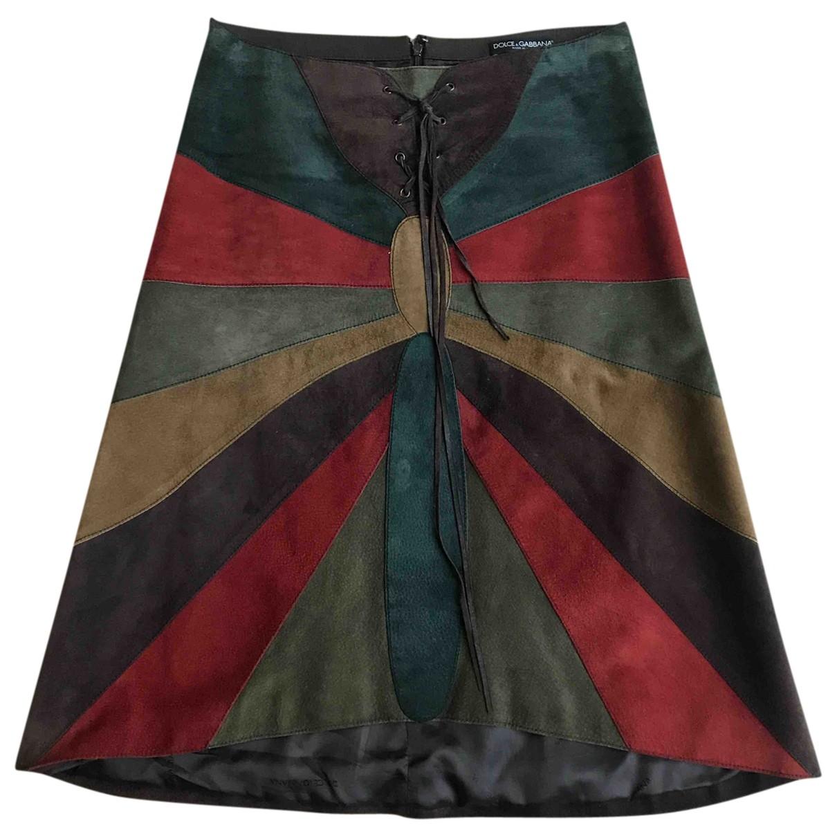 Dolce & Gabbana - Jupe   pour femme en suede - multicolore