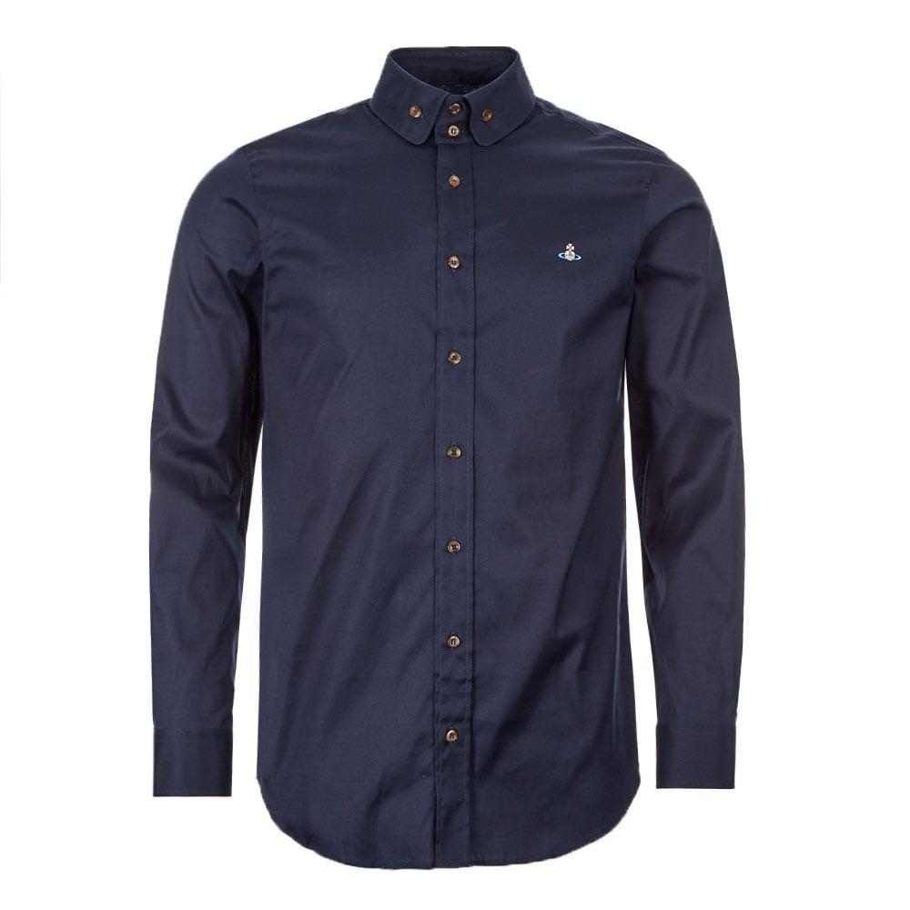 Vivienne Westwood Double Button Orb Logo Shirt Colour: NAVY, Size: EXT